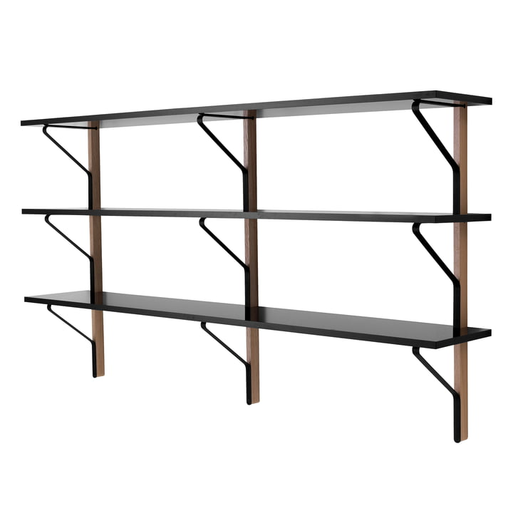 REB 008 Kaari Wall Shelf 200 x 35 cm by Artek in black from natural oak