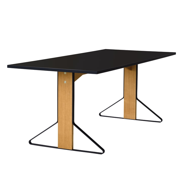 REB 001 Kaari Table 200 x 85 cm by Artek in high gloss black made of natural oak
