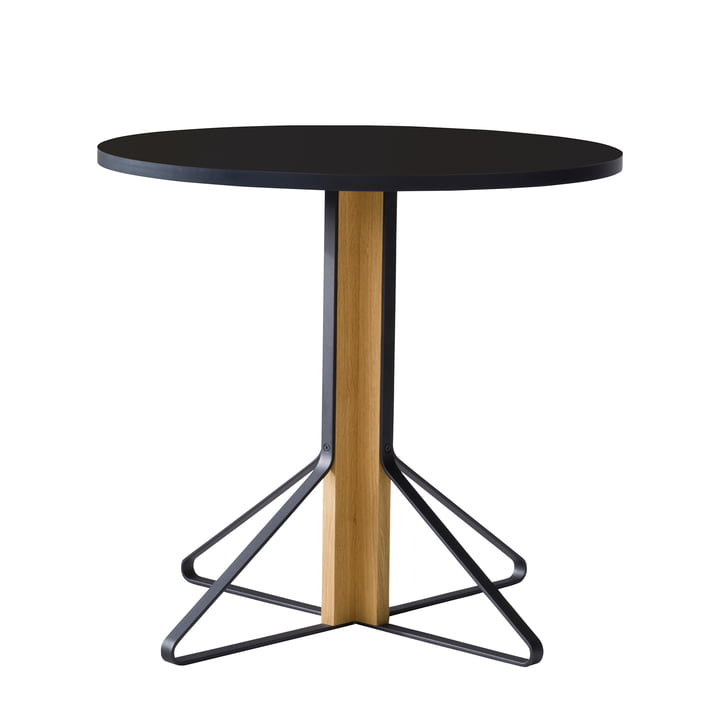 REB 003 Kaari Table Ø 80 cm by Artek in high gloss black made of natural oak