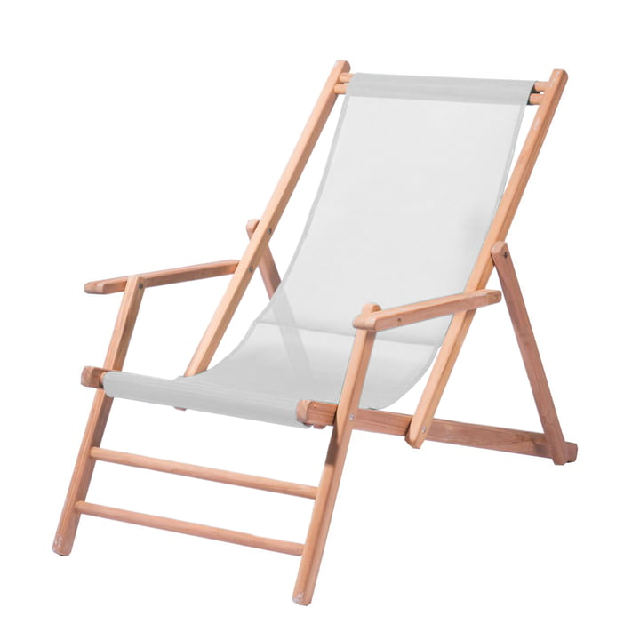 Jan Kurtz - Deckchair Teak, fabric white