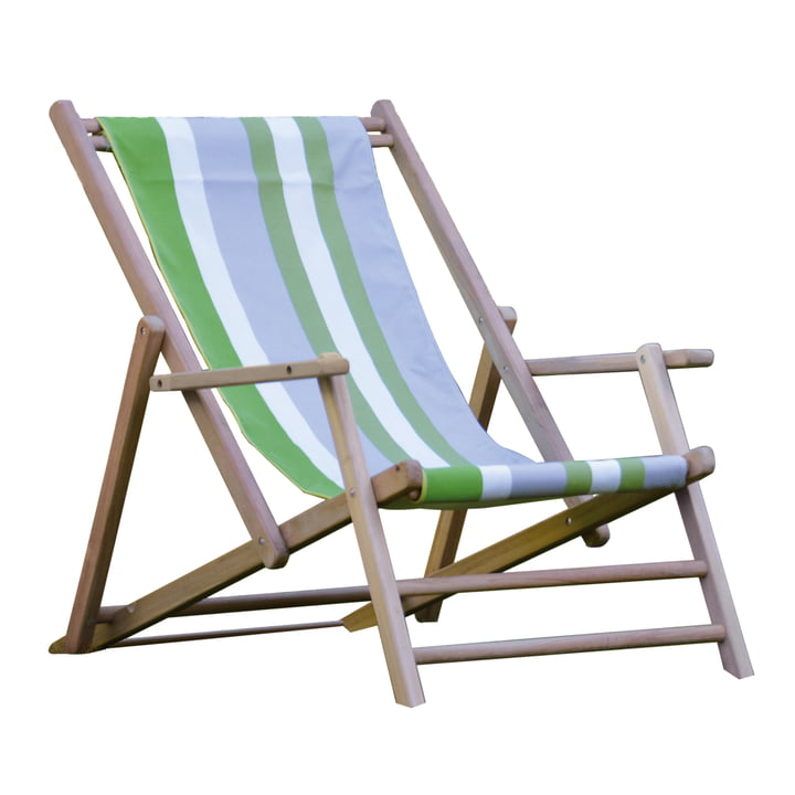 Jan Kurtz - Deckchair teak, cover Designers Guild Stripes Tarifa Leaf