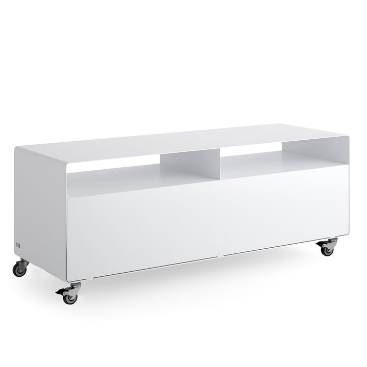 R 109N Sideboard with flap door on castors from Müller Möbelfabrikation in signal white silk matt (RAL 9003)