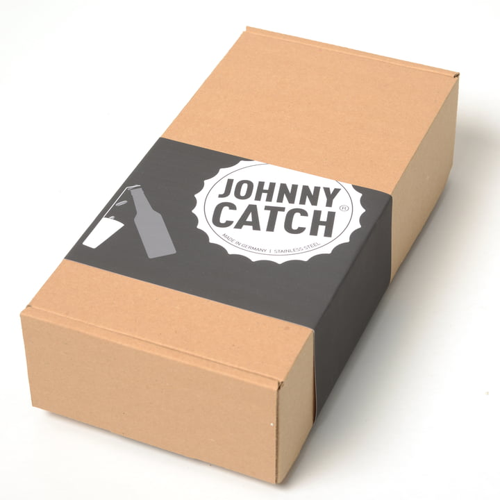 Display of the packaging of the Johnny Catch Cup Bottle Opener by Höfats
