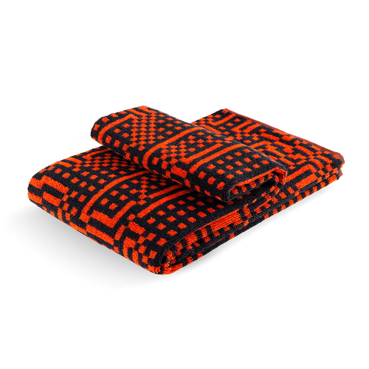 Zuzunaga - Route Black and Red / Orange Bath Towel, 70 × 140cm