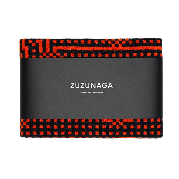 Zuzunaga - Route Black and Red / Orange Bath Towel, 70 × 140cm