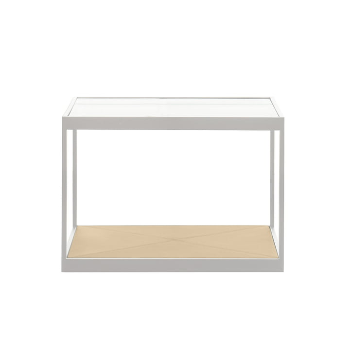 Röshults - Monaco Coffee Table 50 x 50cm, White / Leather sand