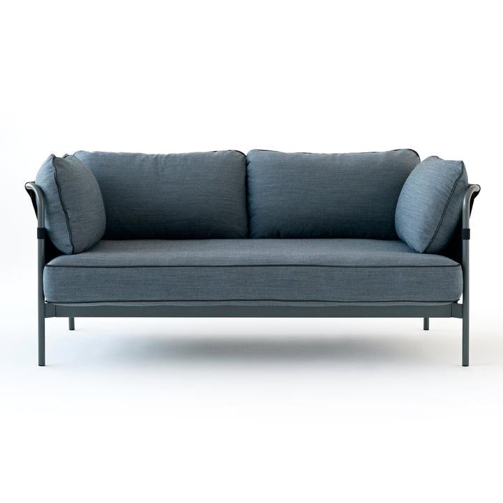Hay - Can Sofa, 2-Seater, grey / canvas black / canvas blue