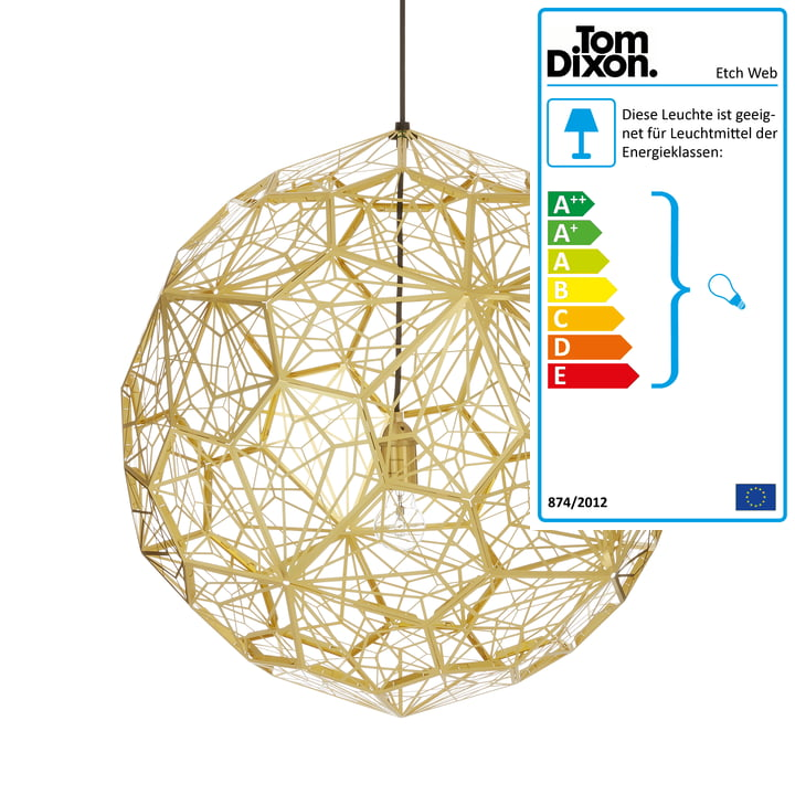 Etch Web Suspension Lamp by Tom Dixon made of brass