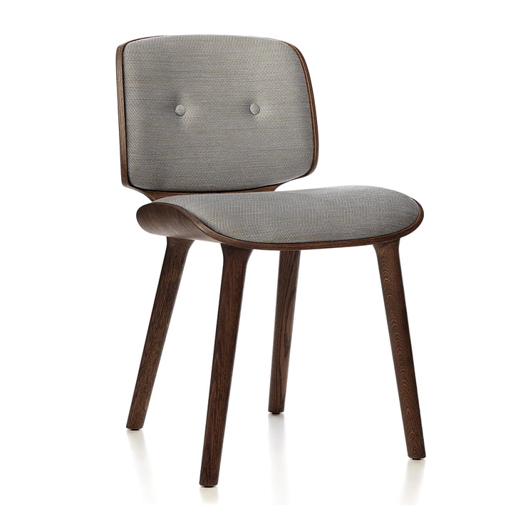 Nut Dining Chair by Moooi in oak cinnamon with fabric cover in Macchedil Sot