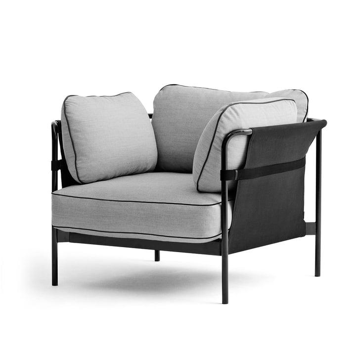 Hay - Can Armchair, black / canvas grey / Surface 120 light grey