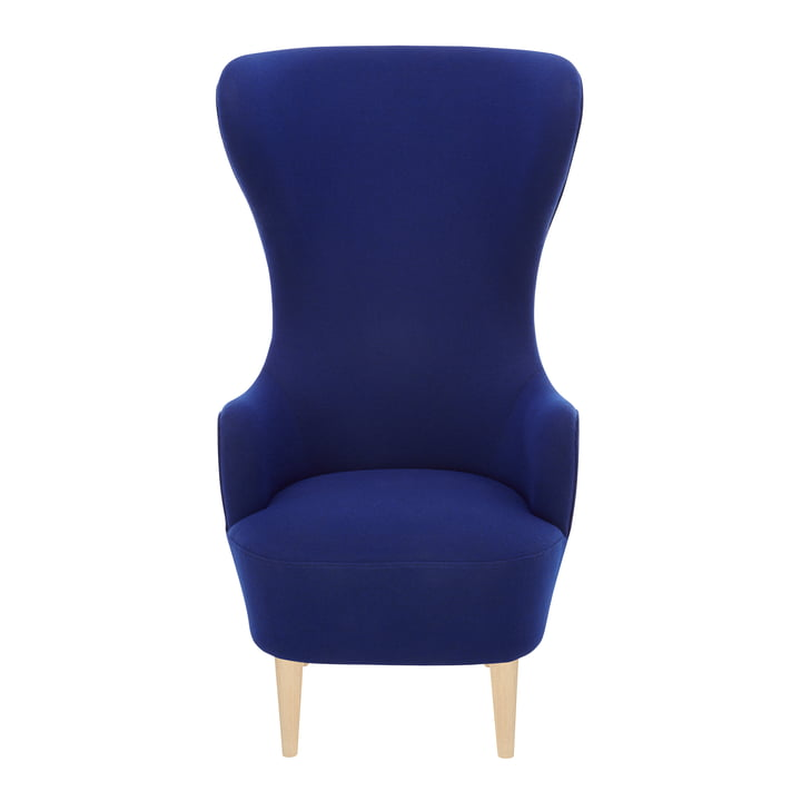 Wingback Chair by Tom Dixon in oak with upholstery in blue