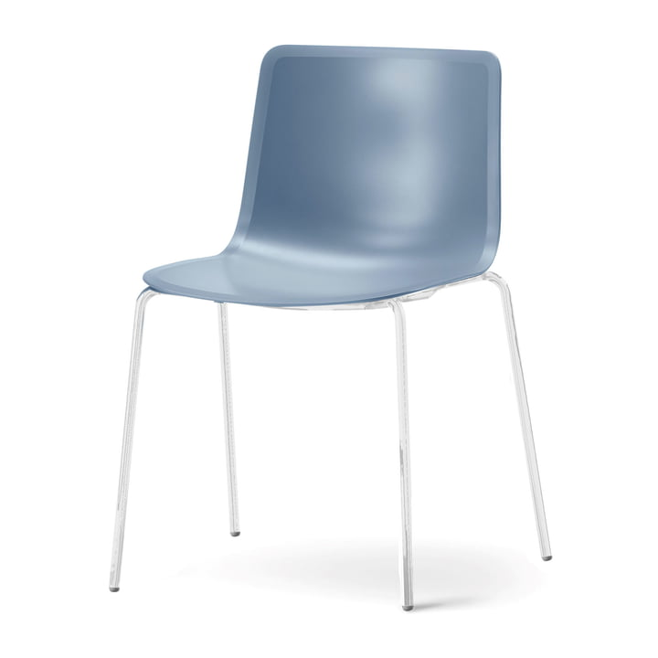 Pato 4 Leg Chair by Fredericia in storm / chrome