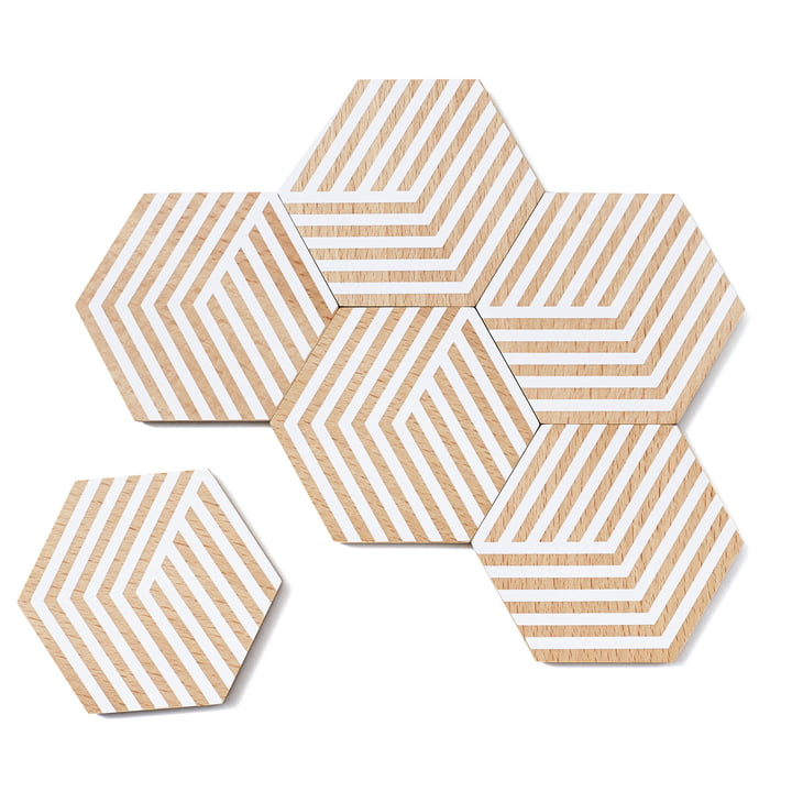 Set of 6 Table Tiles Optic Coasters by Areaware in white