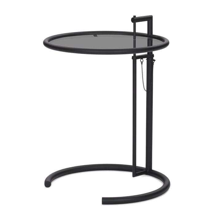 ClassiCon - adjustable table E1027, black / smoked glass grey