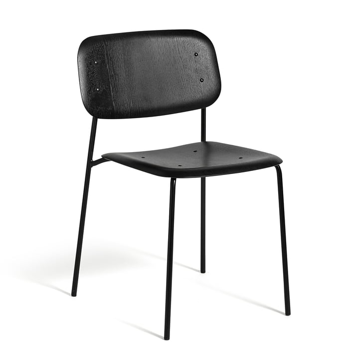 The Hay - Soft Edge chair in black stained oak and frame in steel, powder coated black