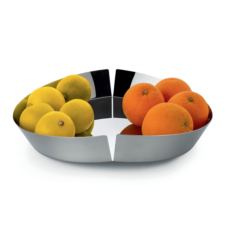 Broken Bowl Fruit Bowl by Alessi in polished stainless steel with fruit