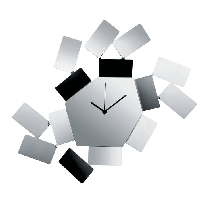 La Stanza Dello Scirocco wall clock by Alessi made of polished stainless steel