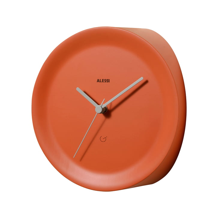 Ora In corner clock by Alessi in orange