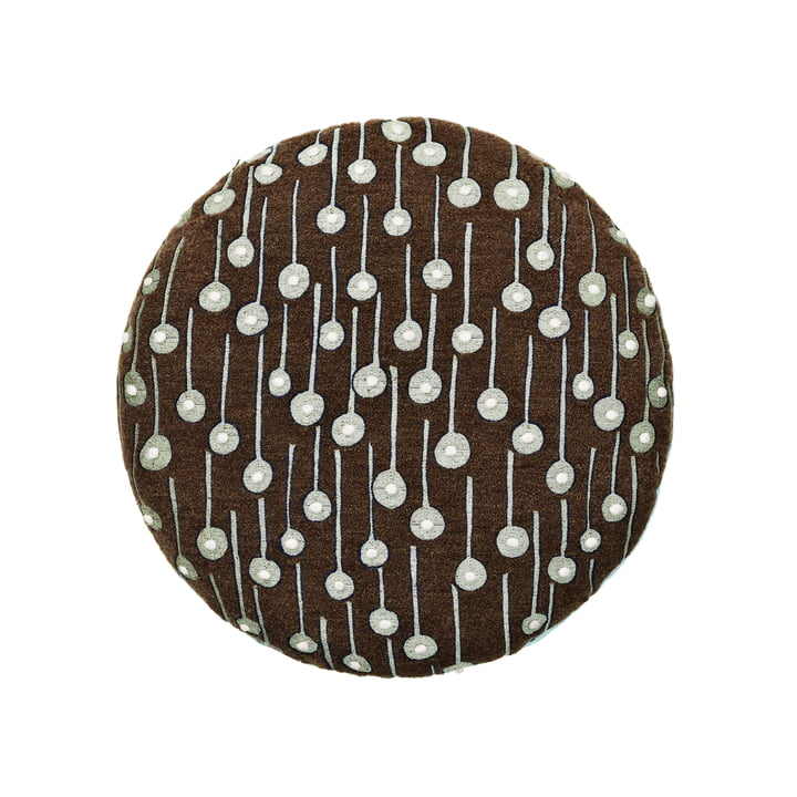 The Circular Cushion with Pop Rain fabric in brown