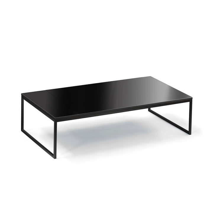 Hans Hansen - Less H 5/2 Coffee Table with Sled-Base Frame, Black / Glass ESG Black