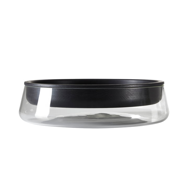 Peruse - Double Bowl, small, Oak black lacquered (RAL 9005) / glass clear