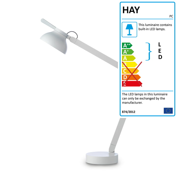PC Double Arm LED table lamp from Hay in light grey