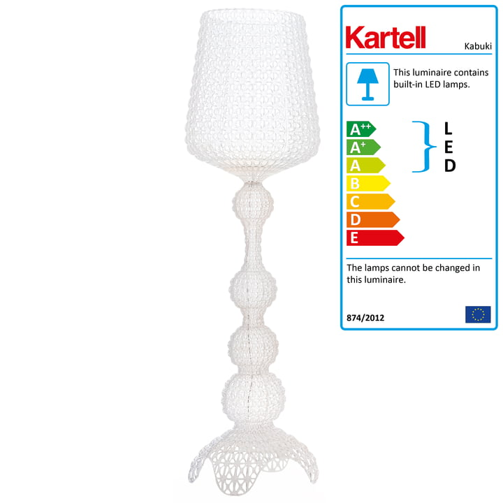 Kabuki LED Standard Lamp from Kartell in Crystal Clear