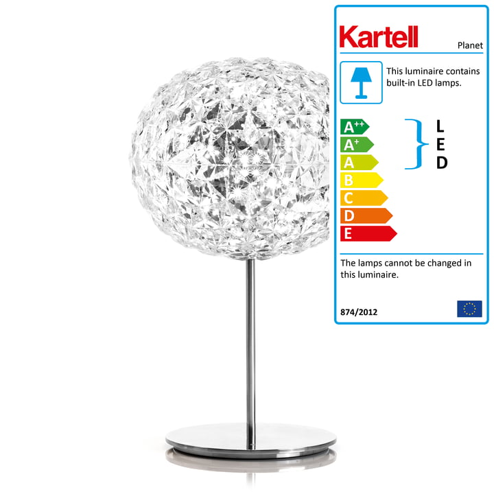 Dimmable Planet LED Table Lamp with Base by Kartell in Crystal Clear