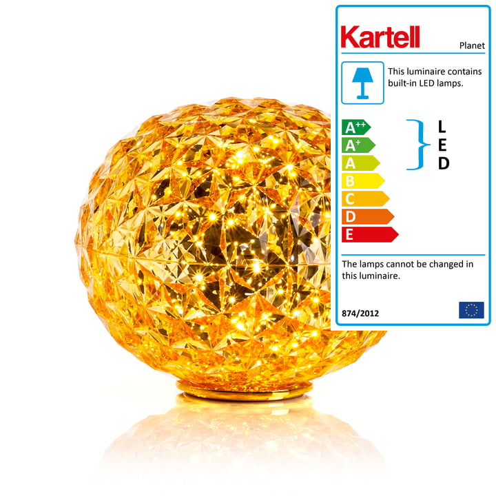 Planet LED Table Lamp with Base by Kartell in Yellow
