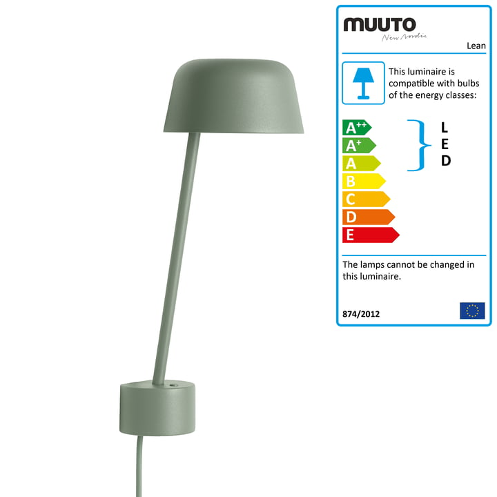 The Lean Wall lamp LED by Muuto in dusty green