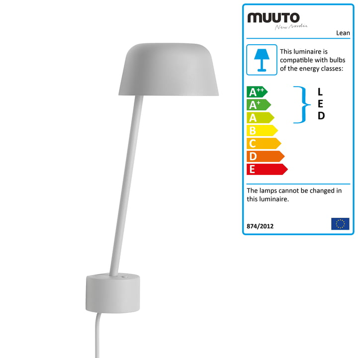 The Lean Wall lamp LED by Muuto in grey