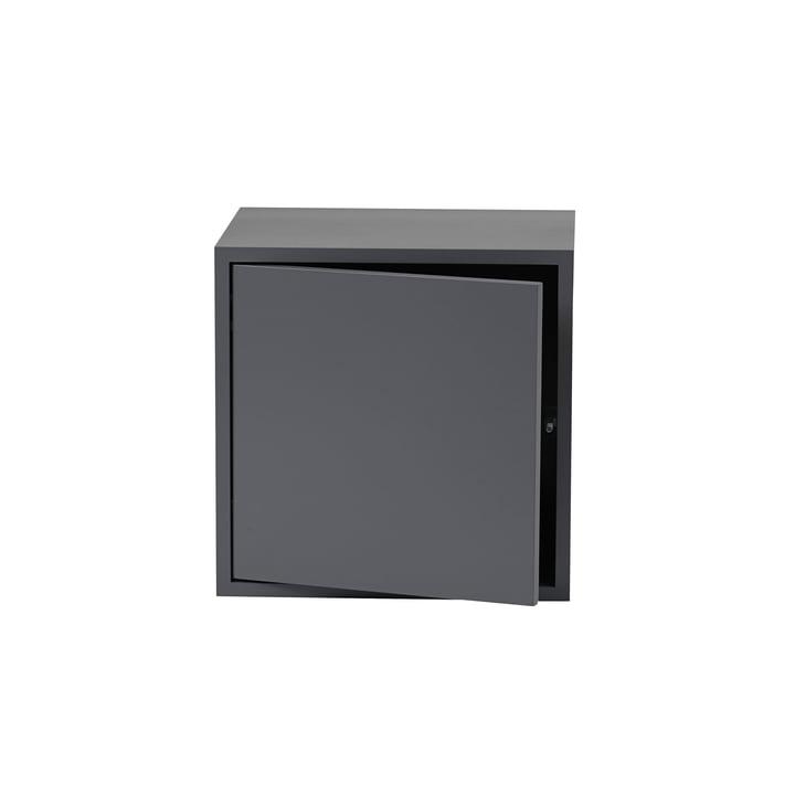 The Stacked Shelving Module with Door in medium, dark grey