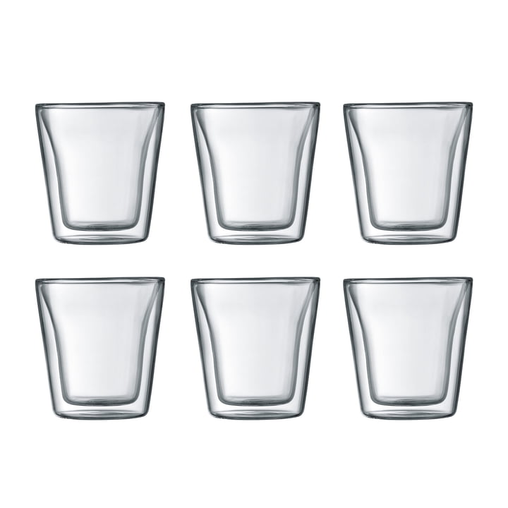 Bodum - Canteen Glass, double-walled, 0.1 l, transparent (set of 6)