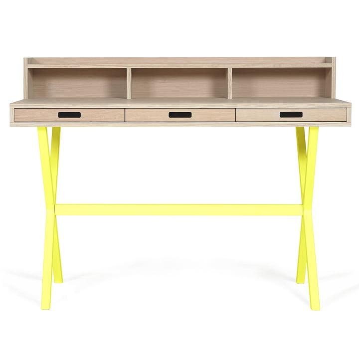 Hyppolite Secretary Desk by Hartô in oak lemon yellow (RAL 1016)