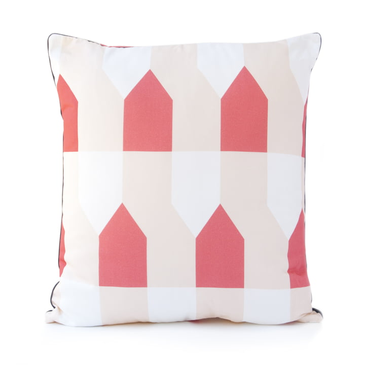 Grand Octave Cushion 50 x 50cm by Hartô in coral and cream