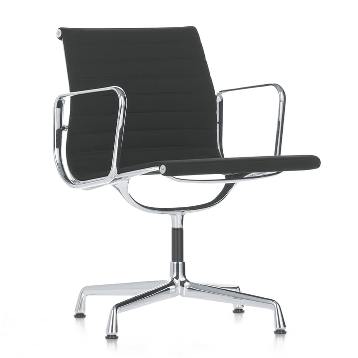 The Aluminium Chair EA 107 by Vitra – Polished, Non-Swivel, with Armrests