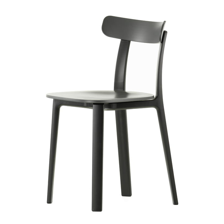 Vitra - All Plastic Chair, dark grey, felt glides for hard floors