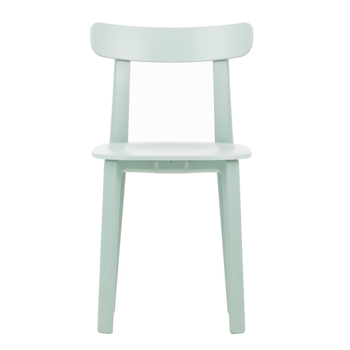 The All Plastic Chair in ice grey by Vitra. The comfortable chair with felt glides for hard floors.