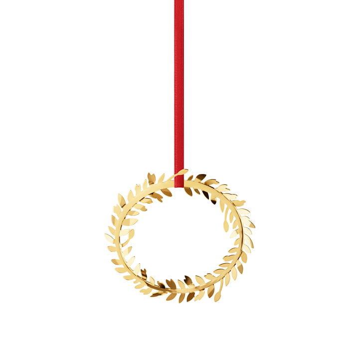 Christmas ornament 2017 gold-plated by Georg Jensen with Red Ribbon