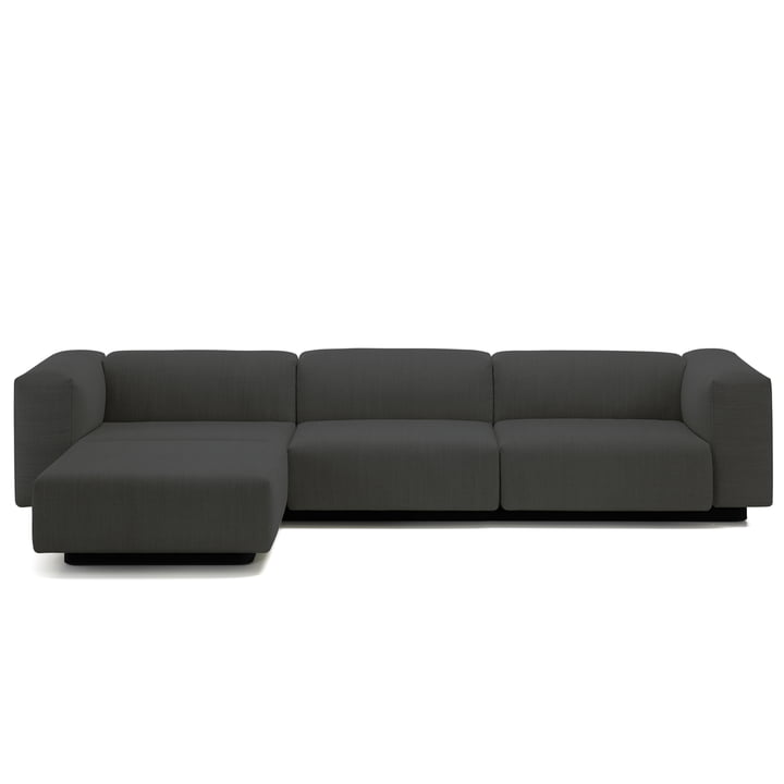 Vitra - Soft Modular Sofa, 3-seater with chaise longue left, anthracite (Laser 03)