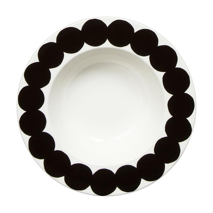 Marimekko - Oiva Räsymatto deep plate Ø 20cm, white / black