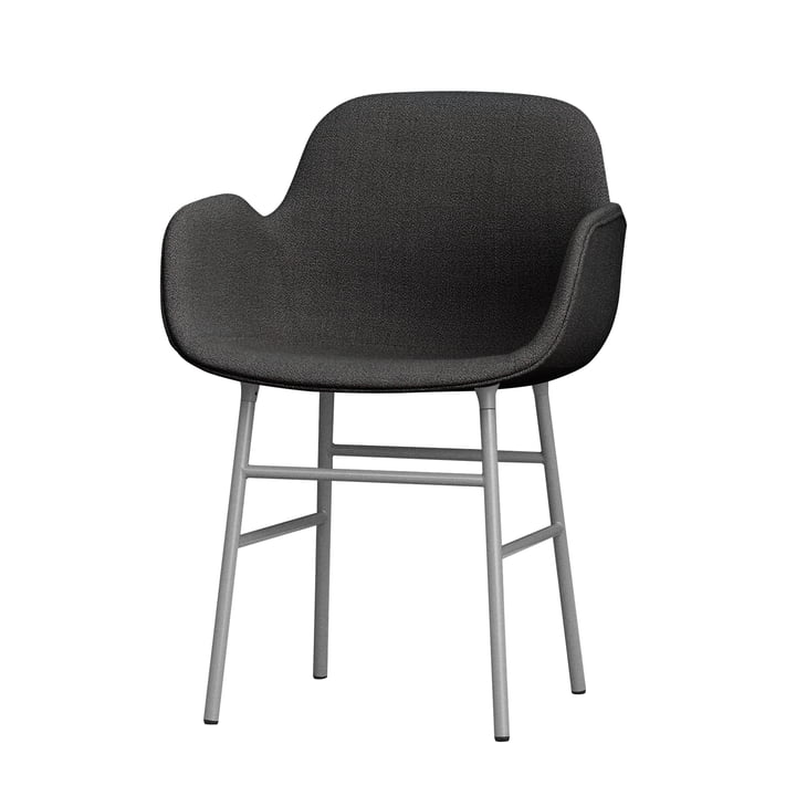 Form Armchair Steel Legs (upholstered) by Normann Copenhagen in Grey (Breeze Fusion 4001)