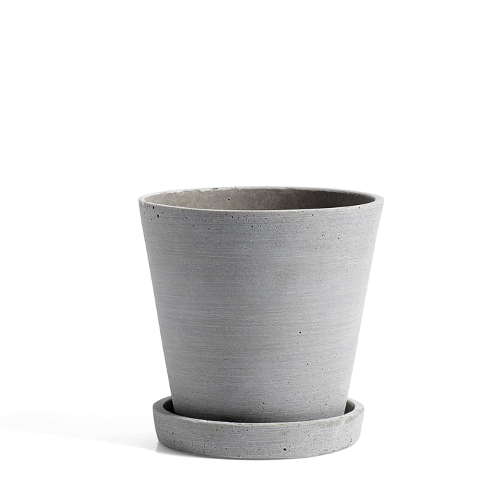 Hay - Flower Pot with Saucer M, grey
