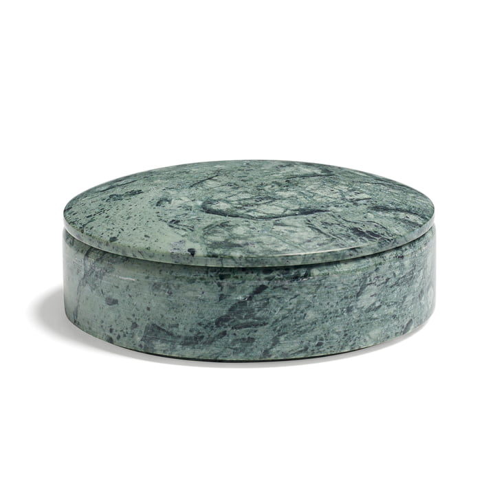 Hay - Lens box with Lid M, stackable, Ø 14cm, green, marble