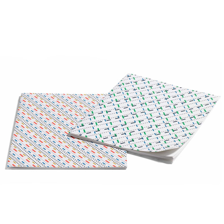 Hay - Line Dot Notebook L, mustard and green