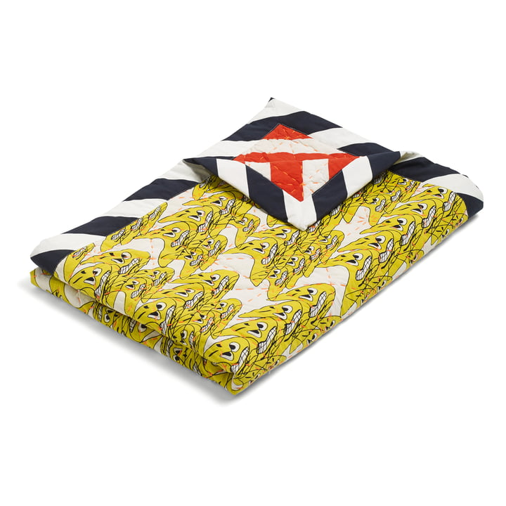 The Hay - Smileys Quilt Bedspread, 245x260 in yellow / multicolour