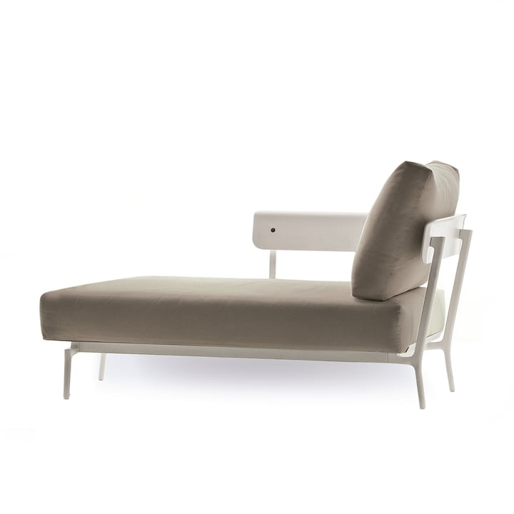 Fast - Aikana Chaise Longue with right armrest, white / taupe