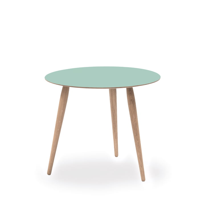 Play Round Laminate Side Table Ø 45 cm by bruunmunch in Dusty Jade / oak white oil