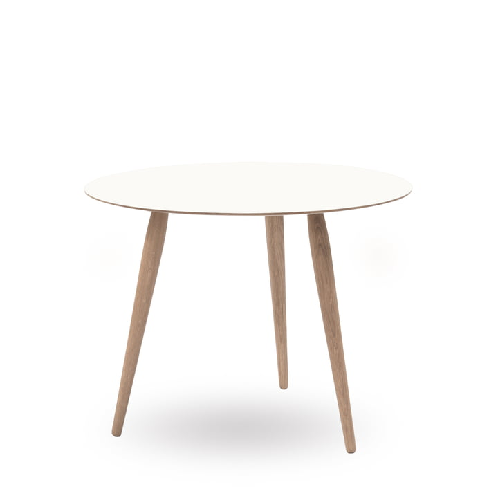 Play Round Laminate Side Table Ø 75 cm by bruunmunch in Crystal White / oak soaped