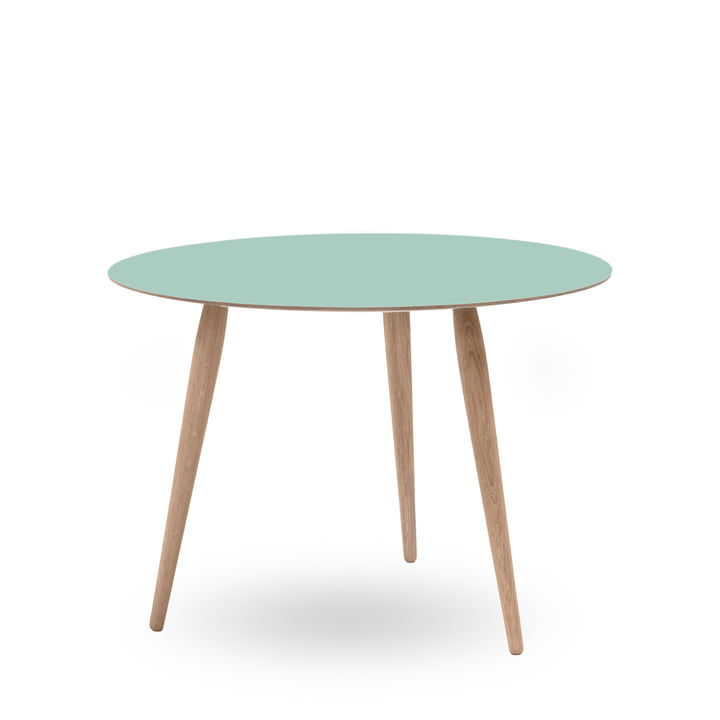 Play Round Laminate Side Table Ø 90 cm by bruunmunch in Dusty Jade / oak white oil